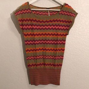 Free People short sleeve sweater in zigzag pattern
